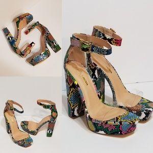 Snakeskin Platform/Chunky Heel Sandals